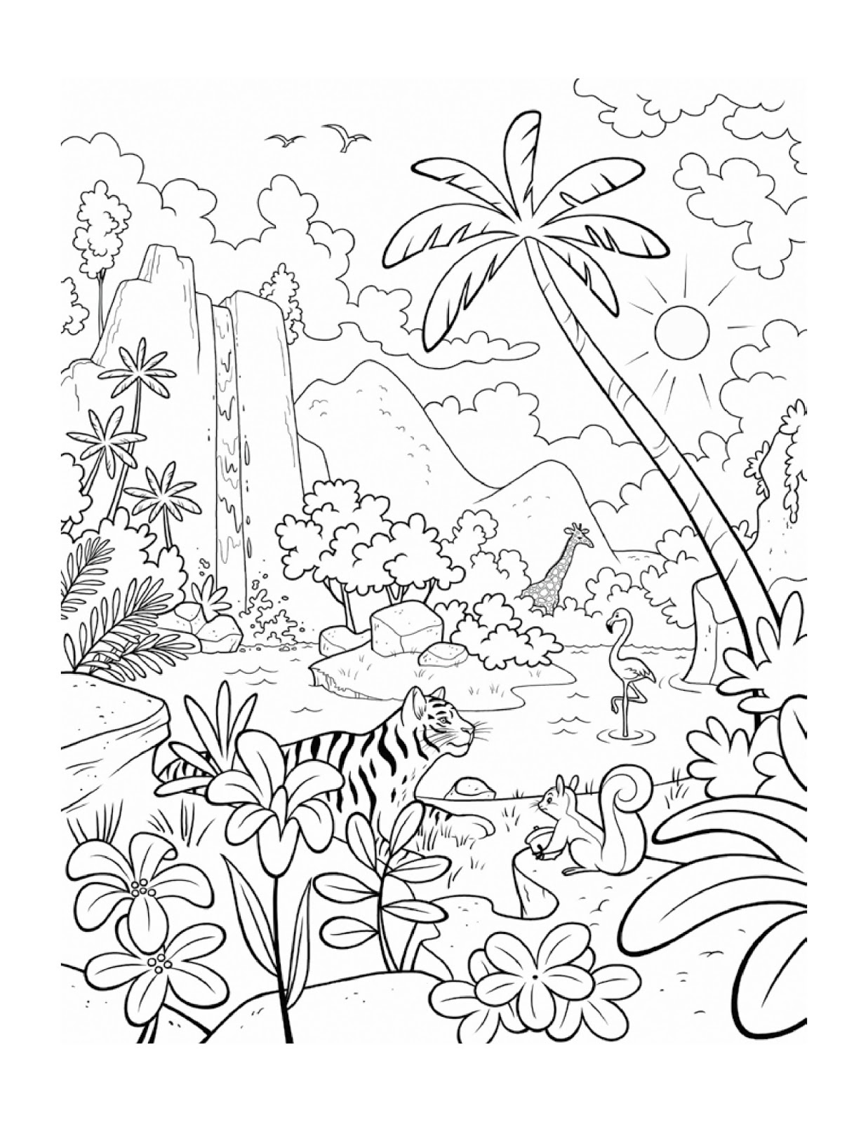 Coloring Page: Plants and Animals