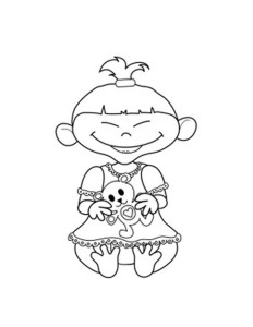 cute little asian baby girl coloring